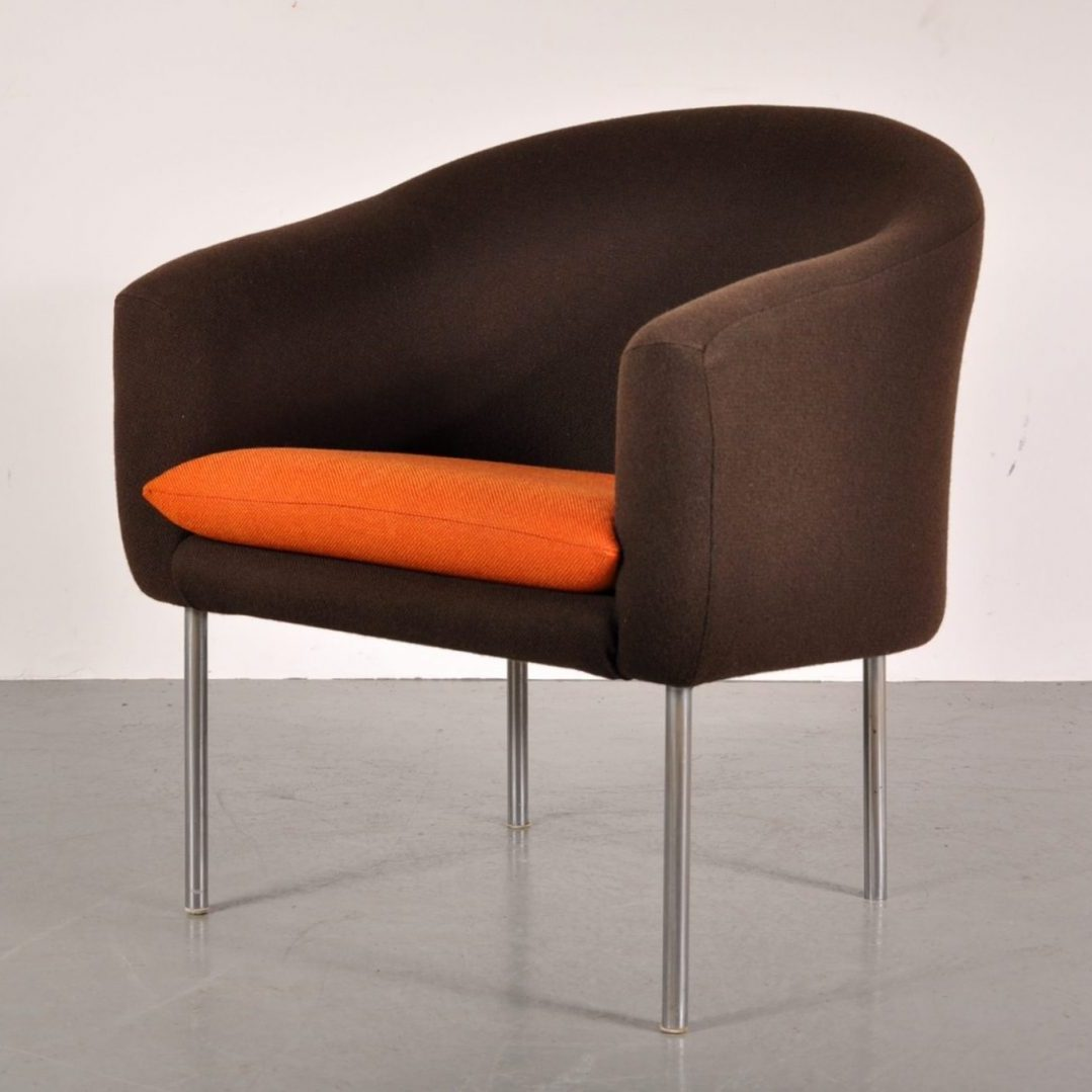 1960's Rare model easy chair with brown and orange woll upholstery on chrome metal legs