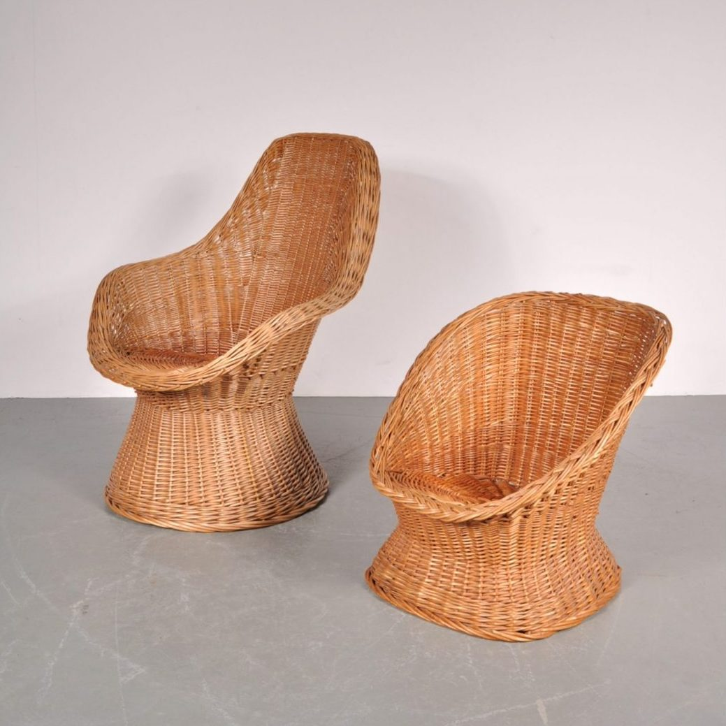 1960's Lovely set of one regular and one children wicker easy chair