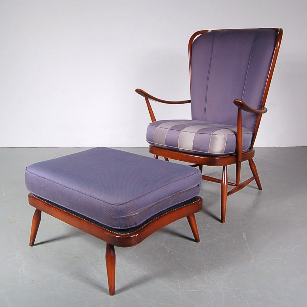 1950's Beautiful large easy chair with foot stool on stained beech frame with purple upholstery