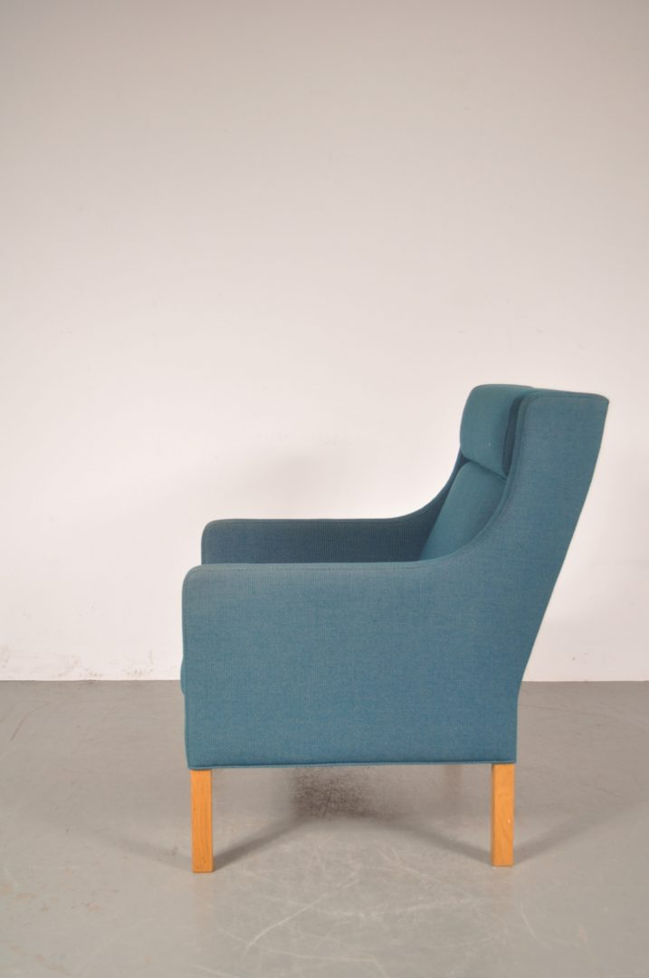 1960u0027s Beautiful Danish Highback Easy Chair With Blue Fabric Upholstery