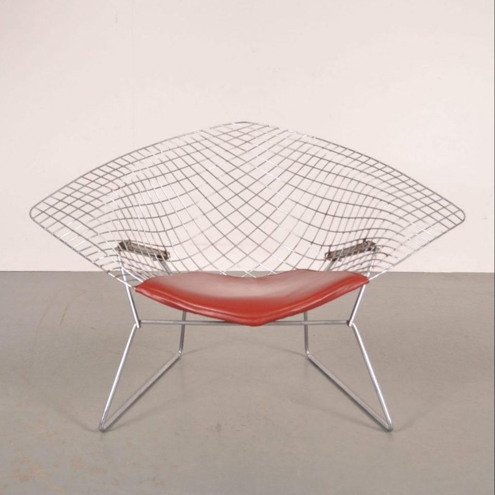 "1960's Unique ""Big Diamond"" easy chair with original orange leather cushion"