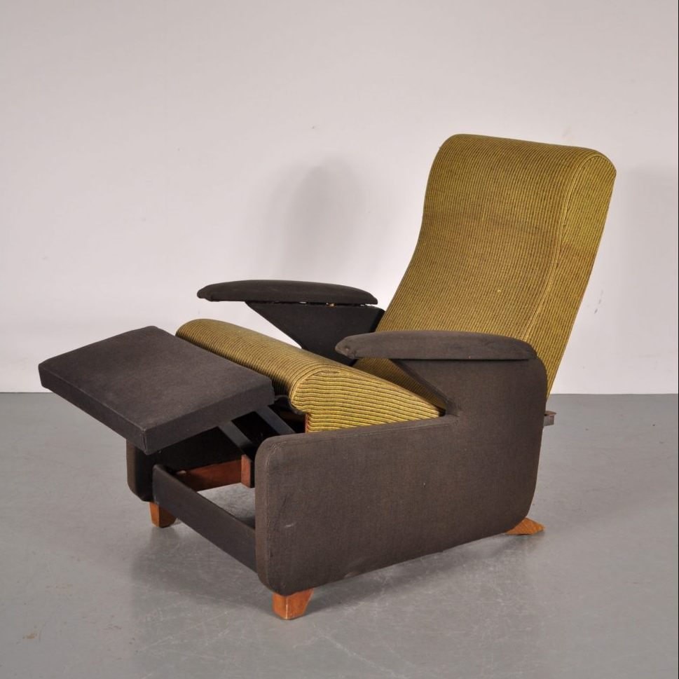 1950's Unique French recliner easy chair with original upholstery