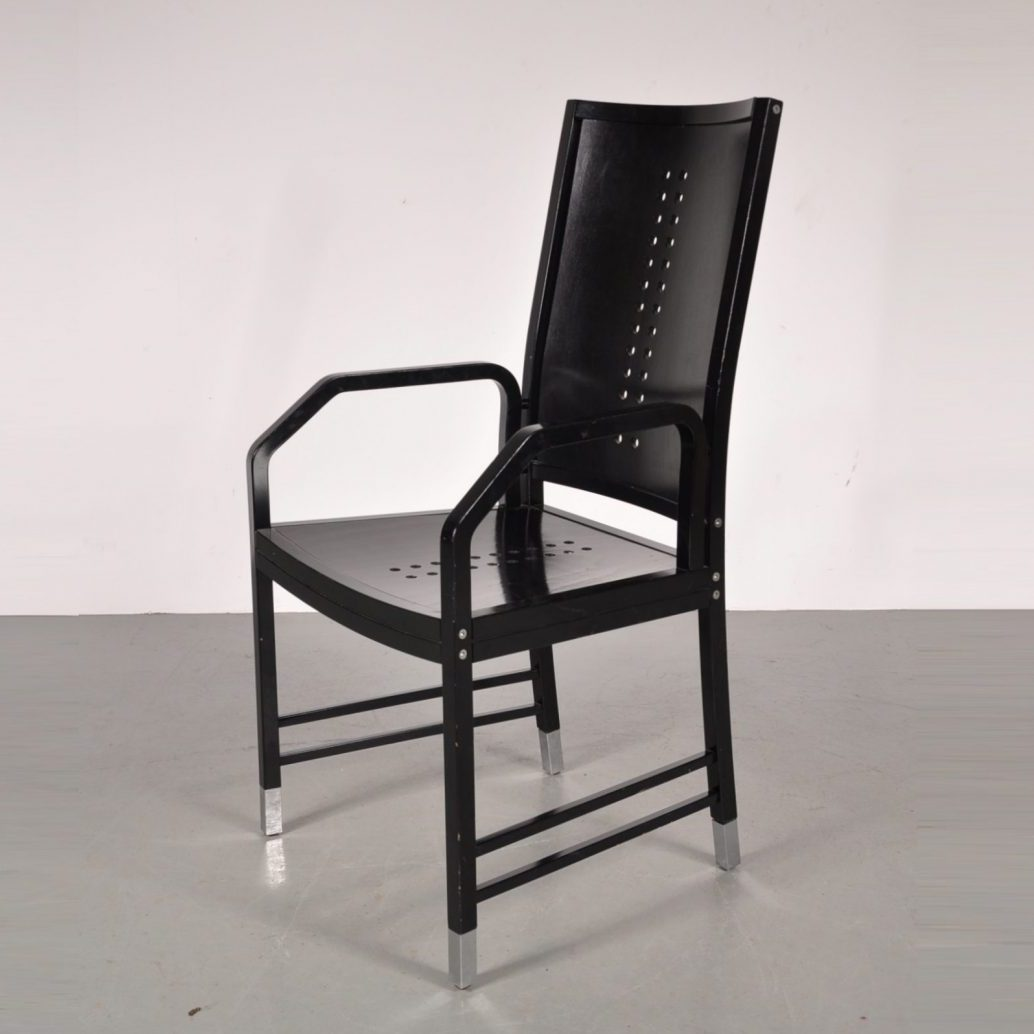 1930's Black wooden dining / desk chair with chrome metal leg ends