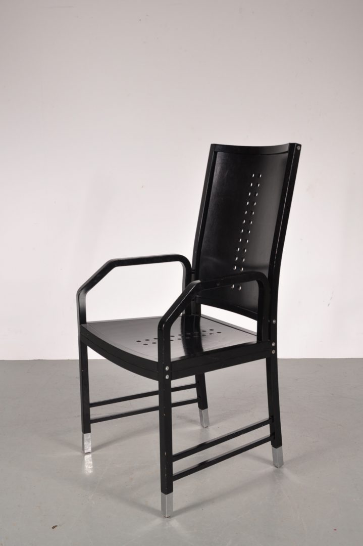 1930u0027s Black Wooden Dining / Desk Chair With Chrome Metal Leg Ends