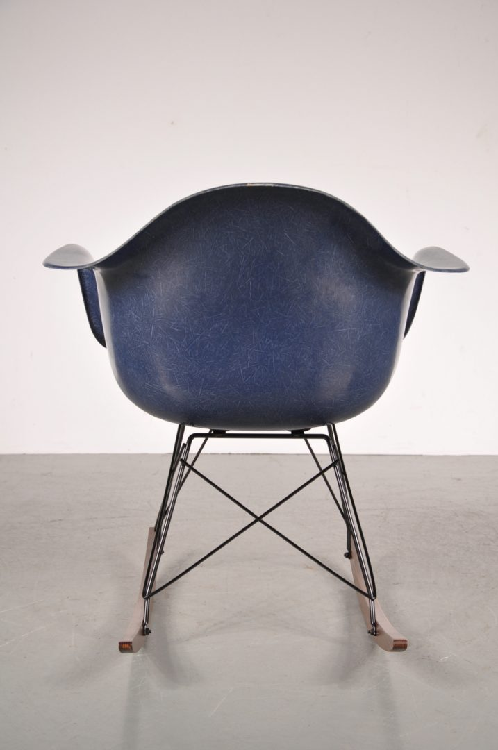 1960u0027s Lovely Styled Rocking Chair With Blue Fiber Glass Shell On Metal  With Wooden Base