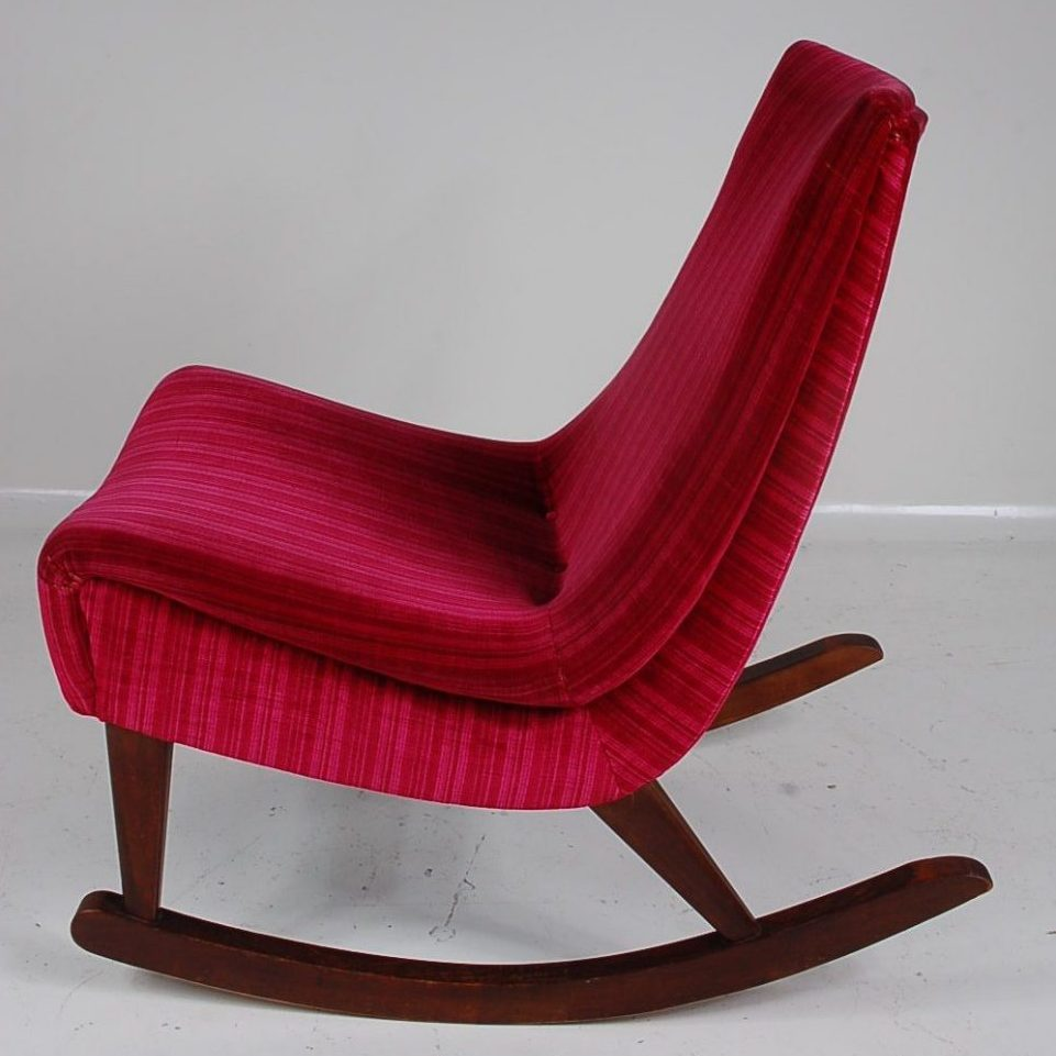 1950's Lovely styled mid century rocker chair on wooden base with red fabric upholstery