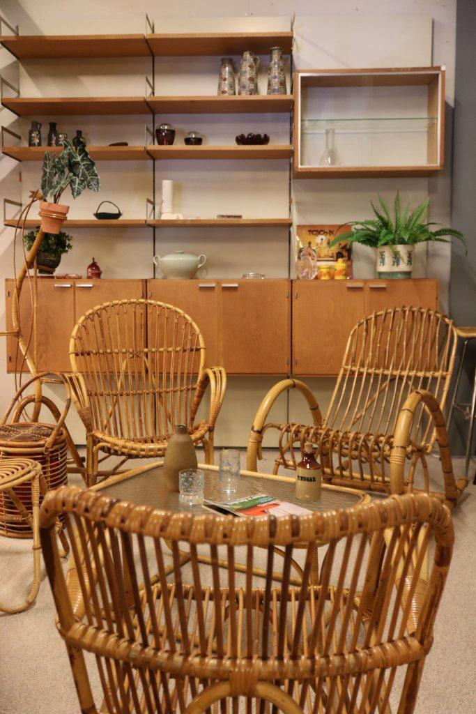 rattan midcentury modern vintage living room set