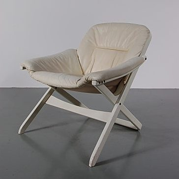 1970's nice quality Swedish easy chair on white wooden base with white leather upholstery