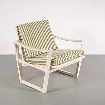 1960's Scandinavian styled white wooden easy chair with checkered upholstery