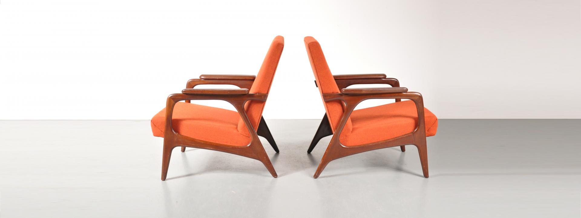 Plastic Design Stoelen.1950s Pair Of Dutch Design Lounge Chairs Designed By Louis Van