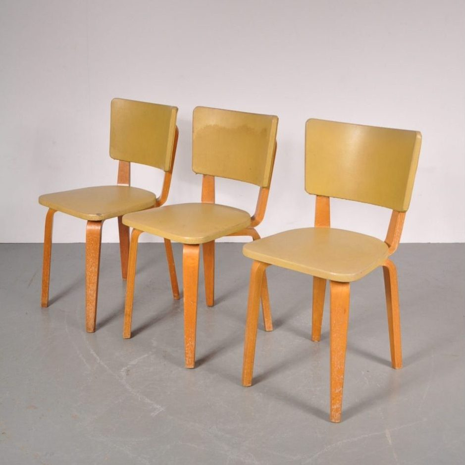 1950's Beautiful birch plywood dining chair with yellow vinyl upholstery Produced: De Boer Gouda / Netherlands Design: Cor Alons
