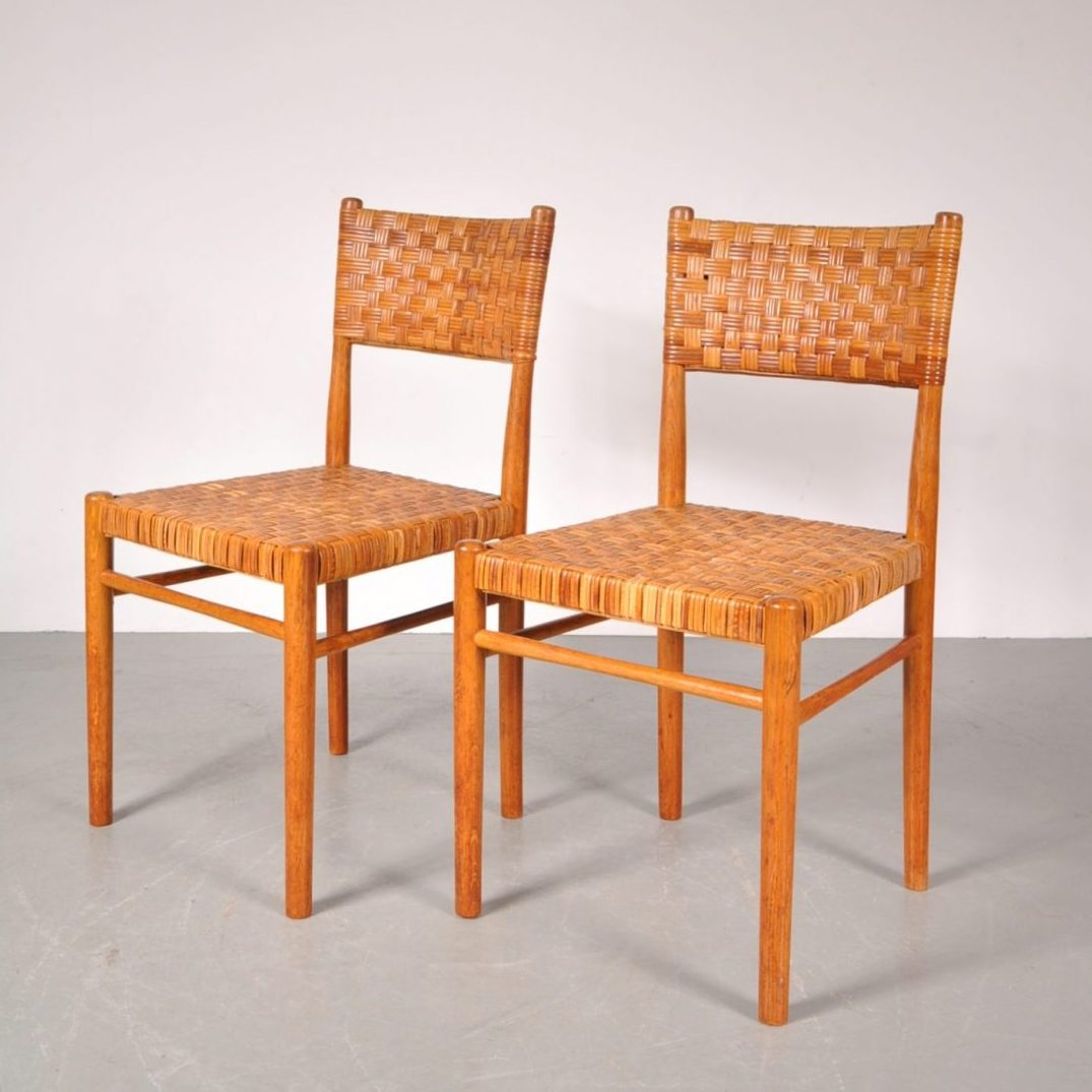 1950's Nice styled beech dining chair with rattan upholstery Produced:Rohé / Netherlands Design:Theo Arts
