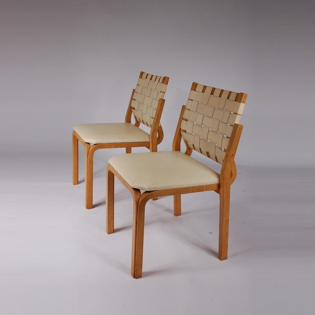 1960's rare birch plywood dinner chairs with beige skai upholstery