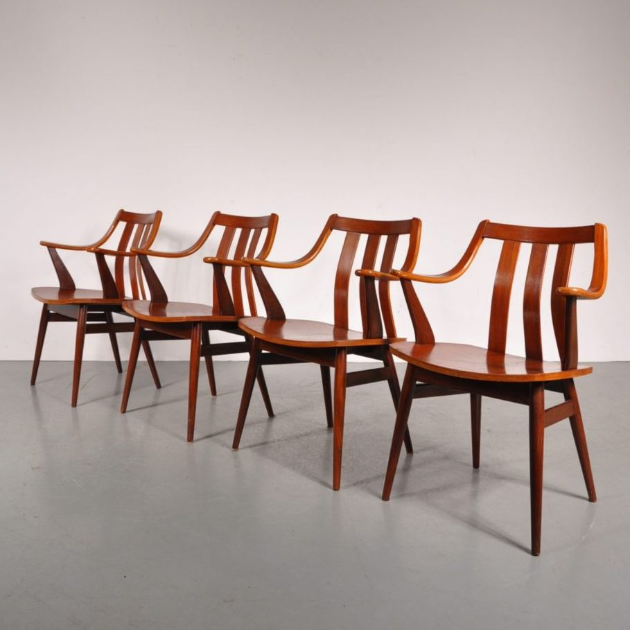 1950's Set of four nice teak plywood dining chairs Produced: Netherlands