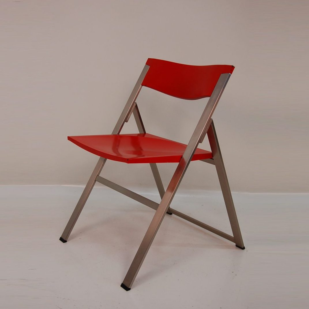 1980's very rare Italian folding chair with chrome metal frame and red plastic seat and back