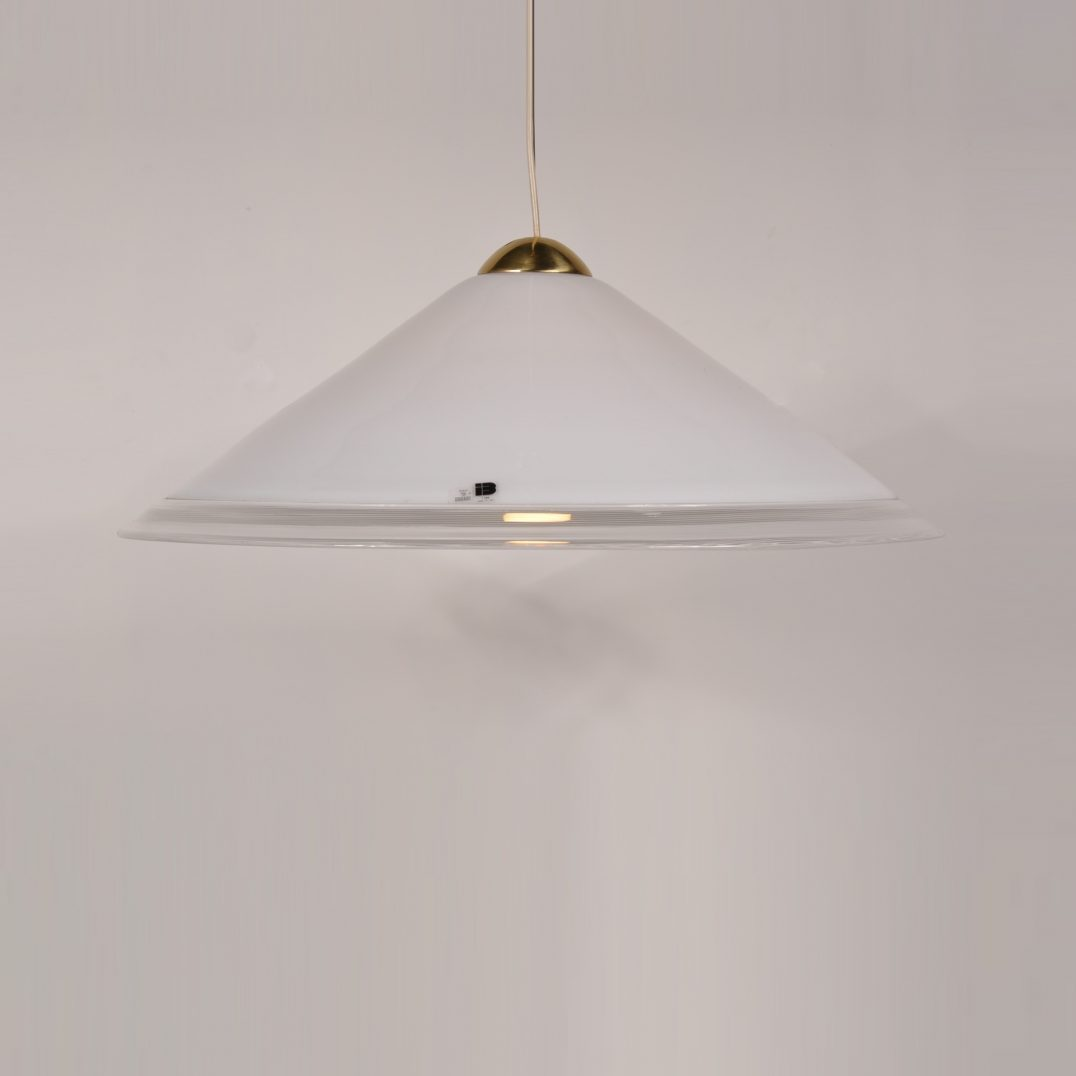 1970's Large white glass Murano ceiling lamp with brass details Produced: Vetri Murano / Italy