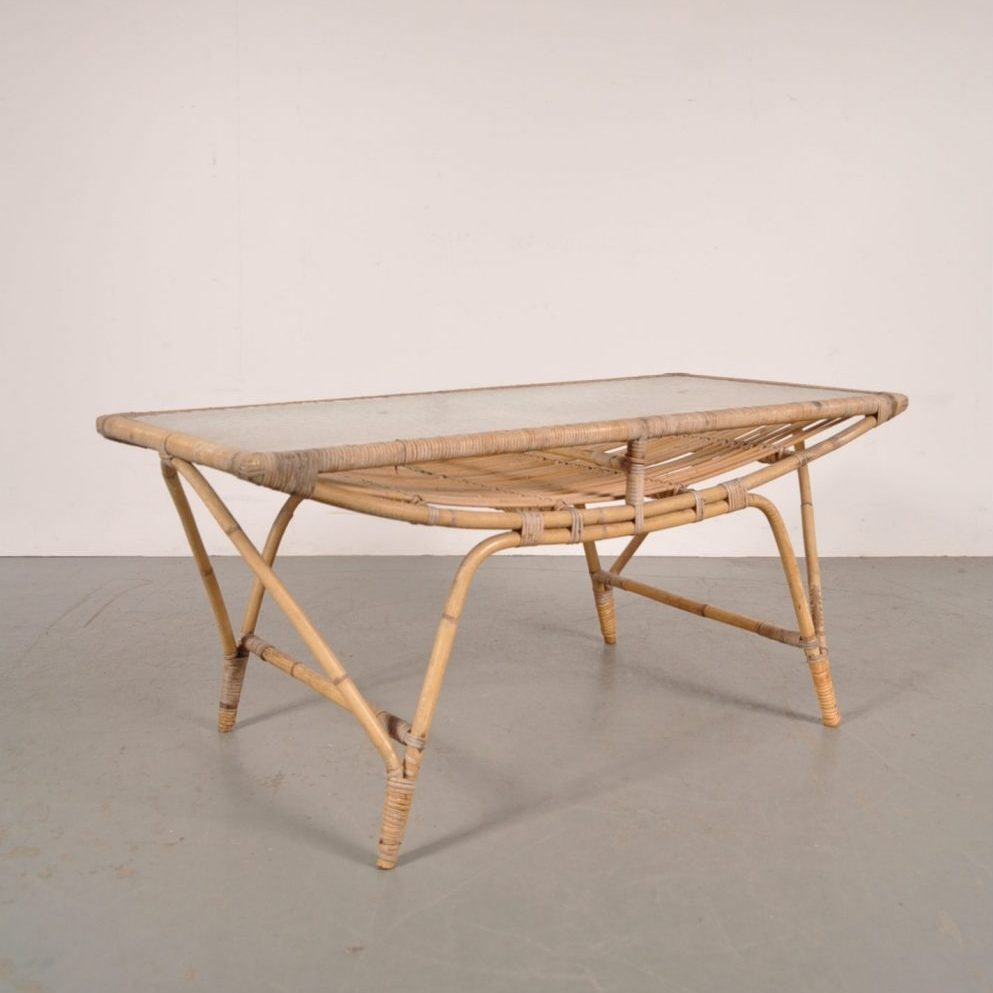 1950s Rattan coffee table produced in Denmark