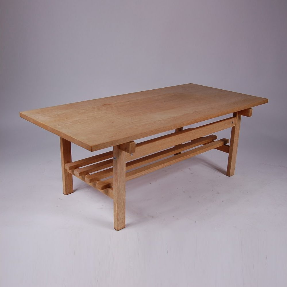 1950s Soaped oak coffee table designed by Hans J. Wegner, produced by Andreas Tuck in Denmark