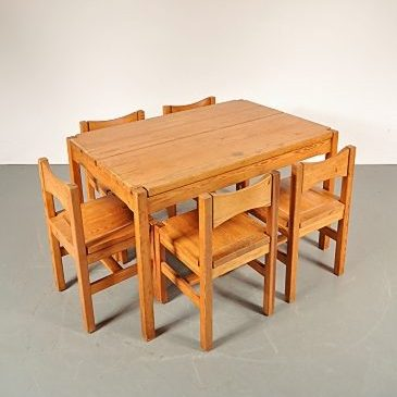1970s Solid pine dining room set designed by Ilmari Tapiovaara, produced by Laukaan Puu in Finland