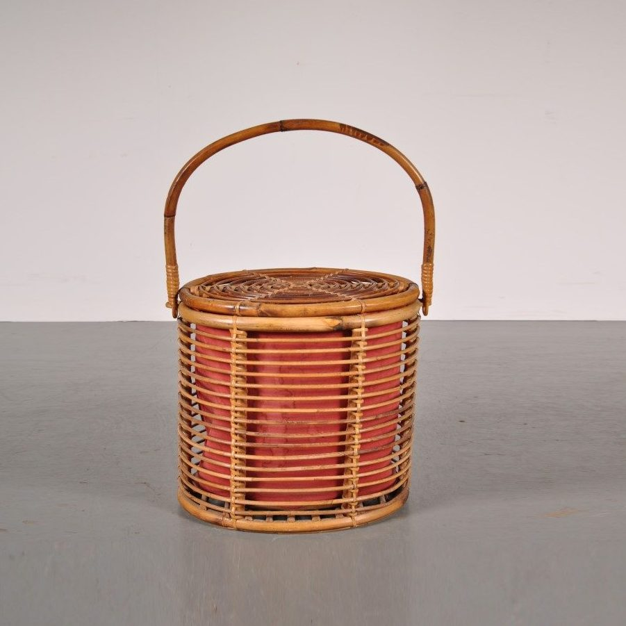 1950's Lovely styled rattan sewing box in Albini style
