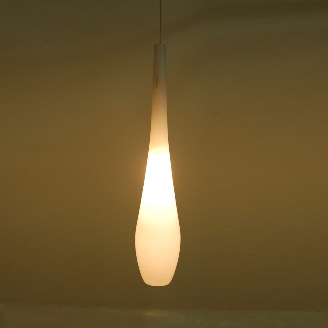 1950s Milk glass hanging lamp Philips, Netherlands
