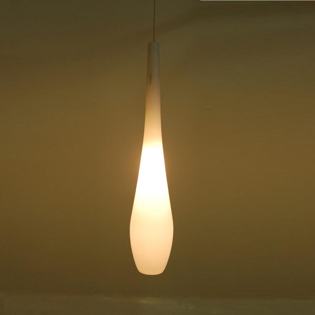 1950s Milk glass hanging lamp Philips, Netherlands