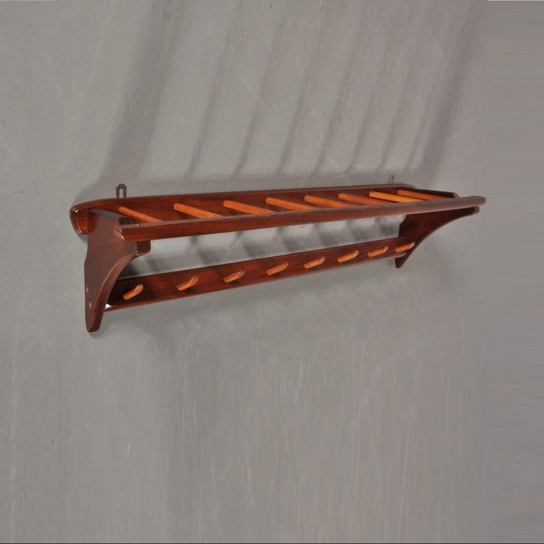 1950s Teak coat rack made in Scandinavia