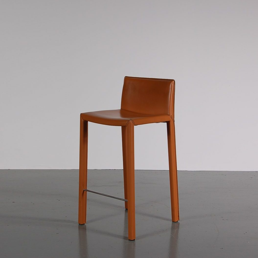 1990s Leather bar stool model Mirtillo, produced by Bonaldo in Italy