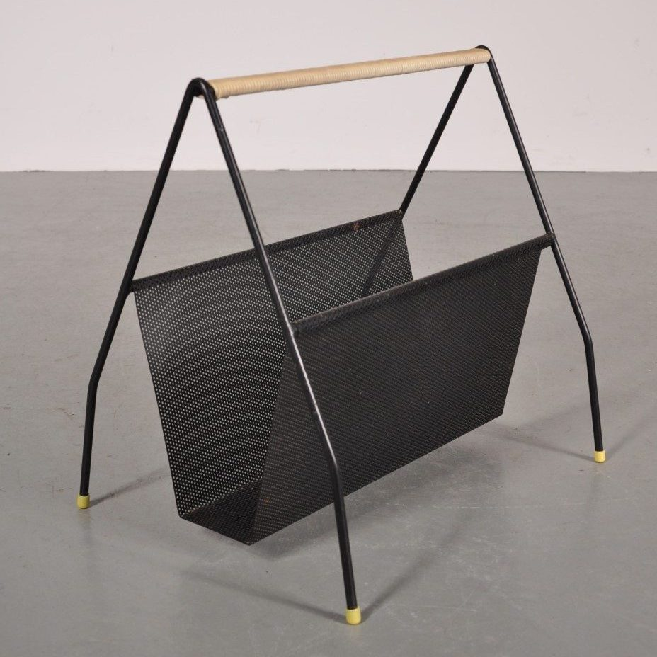 1950s Black metal magazine rack designed by Fideldij, produced by Artimeta in the Netherlands