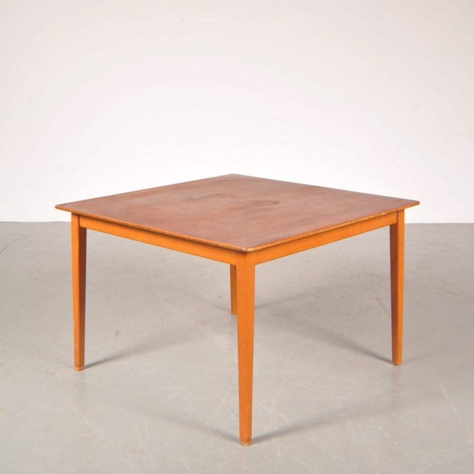 1950's Lovely styled square teak with birch coffee table