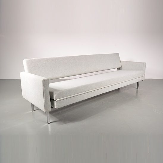 1950s Rare two-persons edition sleeping bench on chrome and black metal base with new upholstery