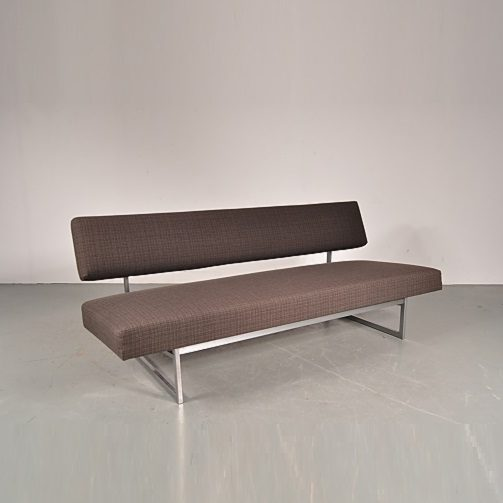 1960s Lovely styled three-seater sofa / sleeping bench on grey metal base with grey/brown upholstery