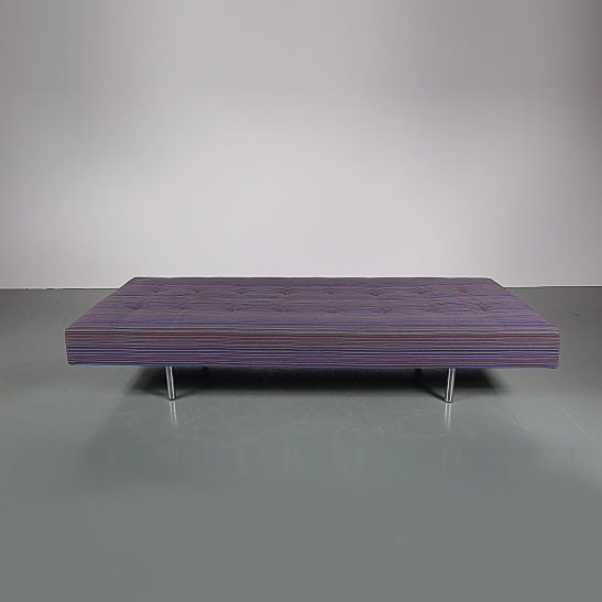1960s beautiful minimalistic styled daybed on chrome metal legs with original Alexander Girard fabric
