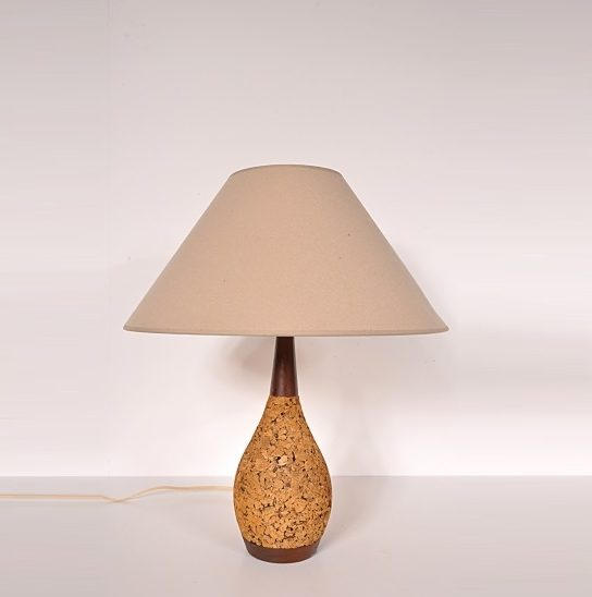 1970s Unique table lamp with cork base and fabric hood