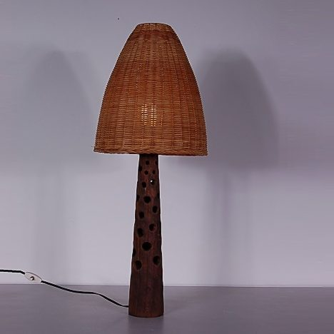 1960s nice styled wooden table lamp with wicker hood