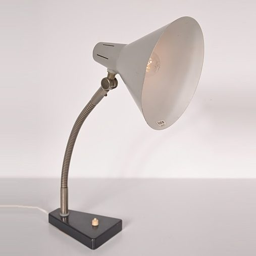 1950s Nice Dutch desk lamp on black metal base with grey metal hood Produced by Hala Netherlands