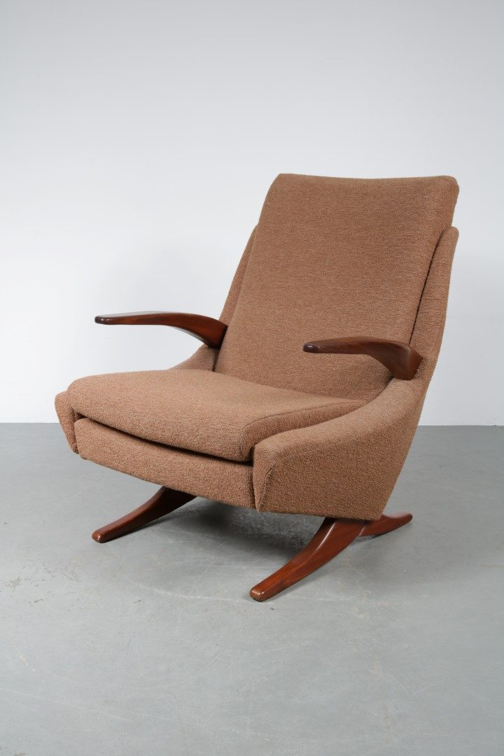 1950u0027s Easy chair teak base and armrest with brown fabric upholstery & 1950s Comfortable lounge chair - De Vreugde Design