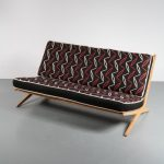 1950s Unique styled birch sofa on scissor shaped base
