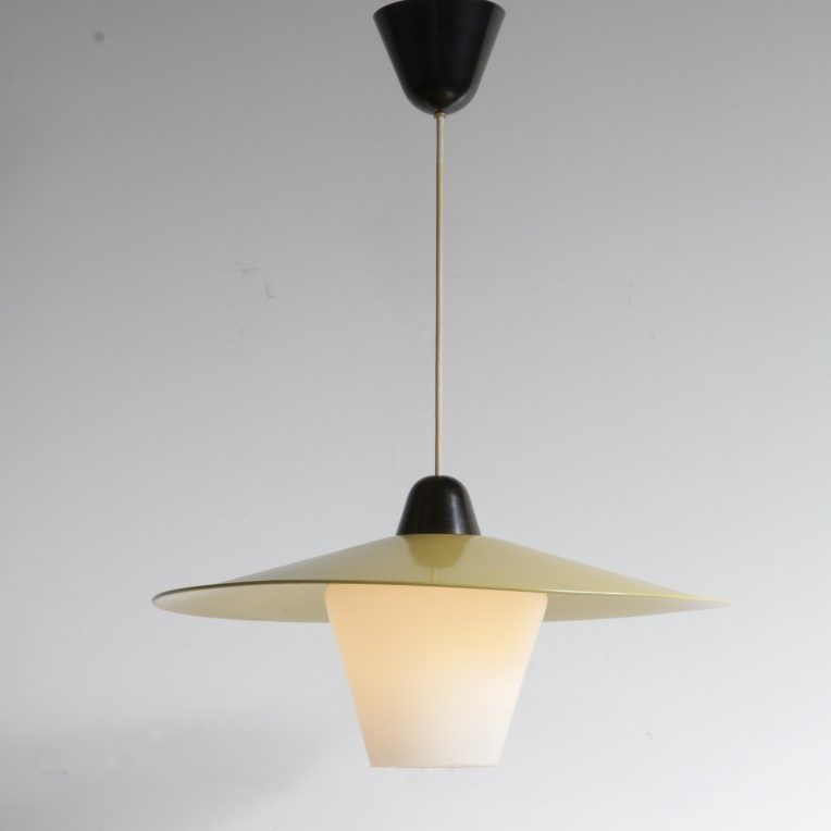 1950's White with yellow metal ceiling lamp Louis Kalff Philips / Netherlands front