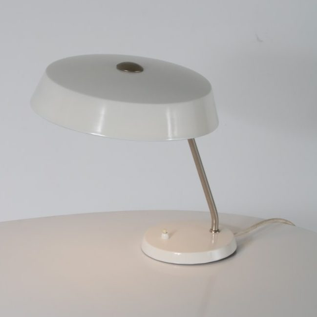 Dutch desing desk lamp with white metal hood front