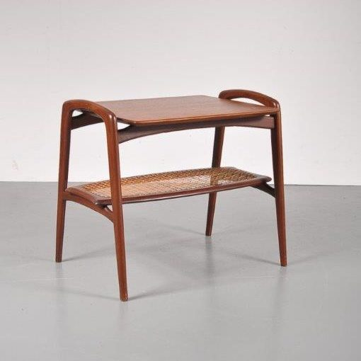 1950s Teak side table with rattan magazine shelf in the style of WéBé , Netherlands