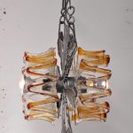 1960s Brutalist glass hanging lamp Mazzega / Italy