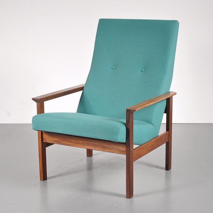 m22681 1960s Easy chair with teak frame and teal upholstery Yngve Ekström Pastoe / Netherlands