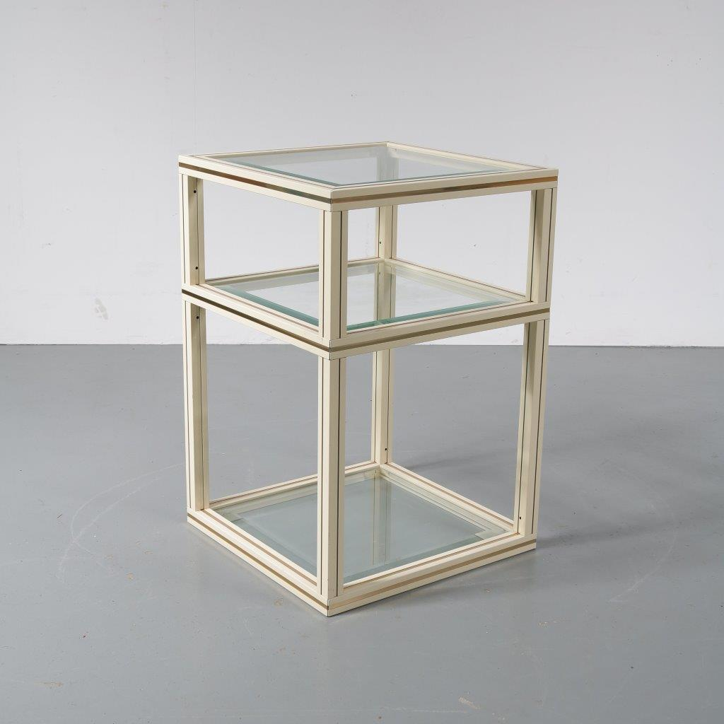 m22686 1970s Brass side table with glass tops Pierre Vandel France
