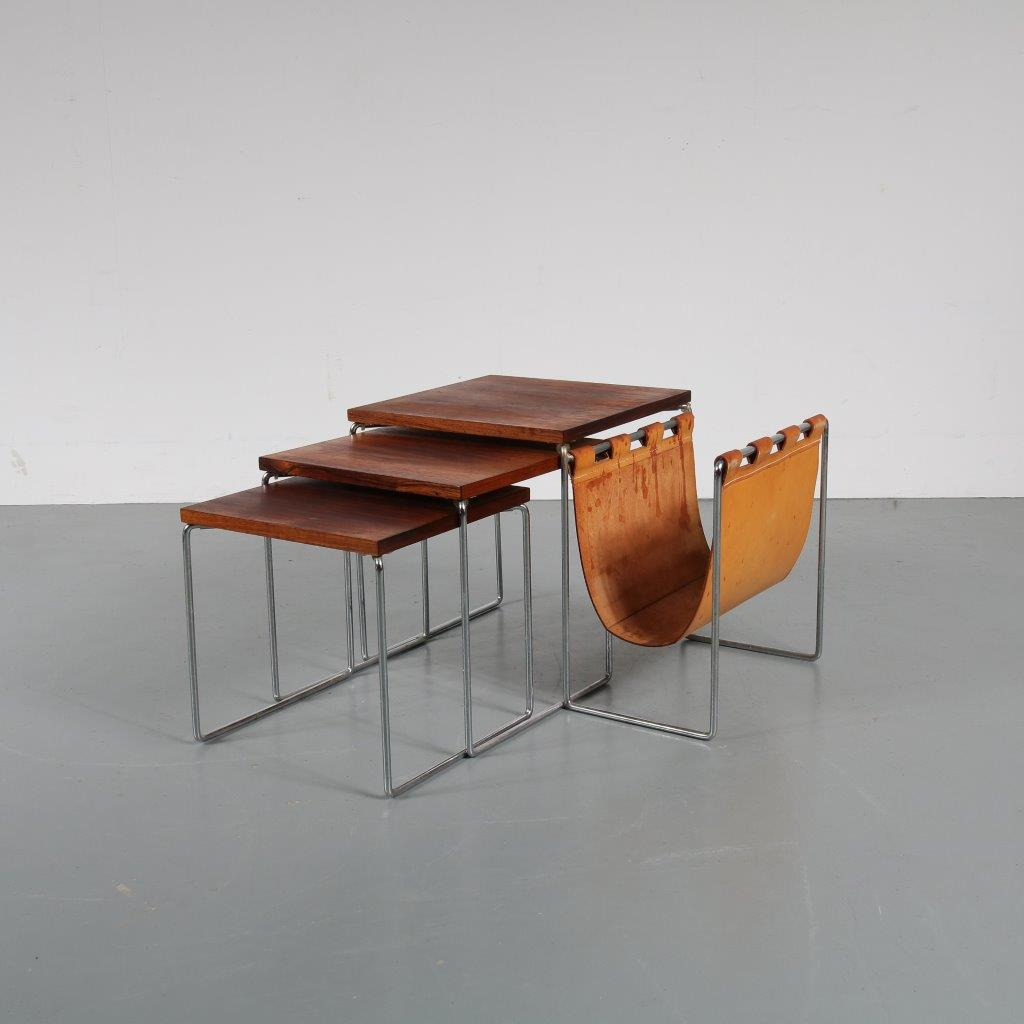 m22498 1960s nice set of 3 nesting tables on chrome metal base with rosewood tops and leather magazine rack Brabantia / Netherlands