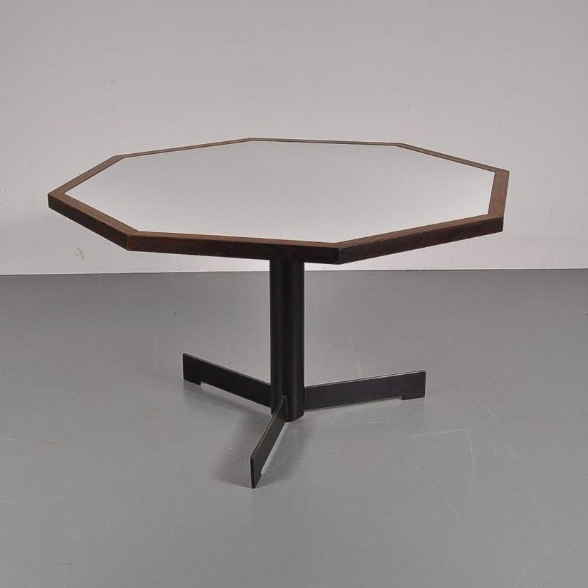 1960s Hexagon dining table with laminated wooden top, wengé edges and black metal crossbase by Martin Visser for Spectrum, Netherlands