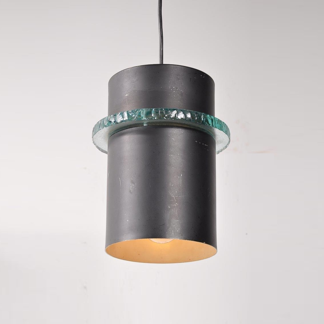 L4109 1960s Beautiful black metal hanging lamp with glass ring Hiemstra Evolux / Netherlands