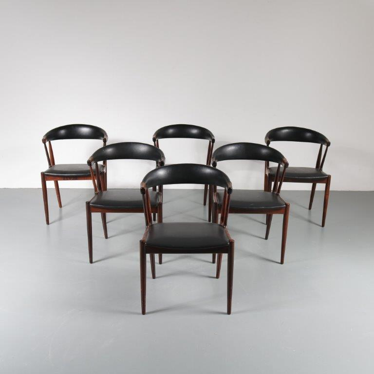 m21192 m21194 m21193 1950's Beautiful set of three rosewood dining chairs with black skai upholstery Johannes Andersen Denmark