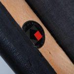 m22513 1960s Teak Scandinavian dining chair with black skai upholstery Moller / Denmark