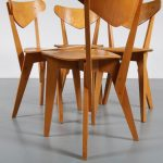 m22550 1940s Set of 4 birch dining chairs Groep& Goed Wonen / Netherlands